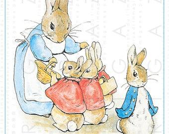Beatrix Potter Art Print. Flopsy Mopsy & Cotton Tail Peter Rabbit Saga Illustration. Peter Rabbit Digital Download.