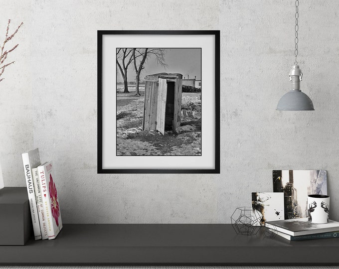 Modern Farmhouse Wall Art / Funny Bathroom Art / Framed Powder Room Prints / Vintage Black and White Outhouse Photo / Framed Wall Art