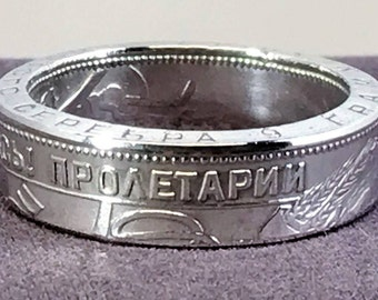Flawed 1925 Soviet Union (USSR) 50 Kopeks Silver Coin Ring - 1 Year Unconditional Money Back Guarantee On This Item