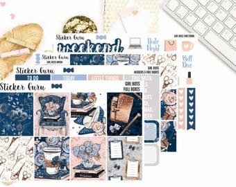 Girl Boss / Back To School Reading Bookworm Book Lover / Mini Weekly Sticker Kit / Erin Condren MAMBI Happy Planner Stickers [***]