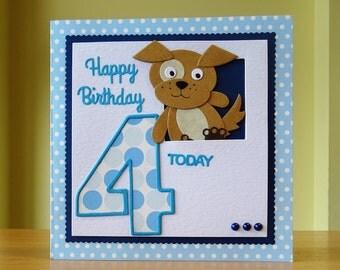 Fourth Birthday Card, Handmade - 4th Birthday Card - Dog / Puppy Card - Children's Card - Cute Dog / Puppy Card - Can Be Personalised