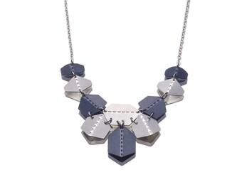 Silver Geometric Necklace, Short Silver Black Necklace, Oxidized Black Necklace, Oxidized Statement Necklace, Geometric Statement Necklace