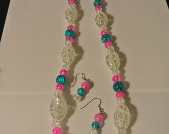 Powder Blue and Pink Necklace with White Accent Beads
