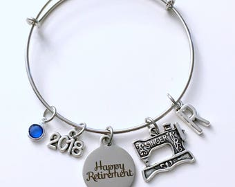 Retirement Gift for Women Seamstress Costume Designer Sewing Charm Bracelet Jewelry Silver Bangle Coworker tailor initial birthstone Present
