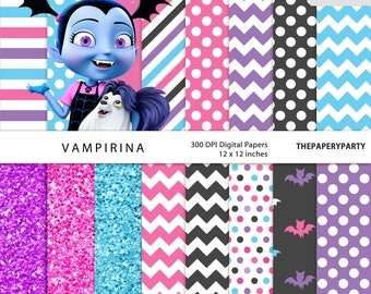Vampirina Digital Papers 16 Inspired Scrapbook Patterns 12 x 12 inches