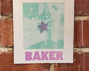 Star Baker Letterpress Print