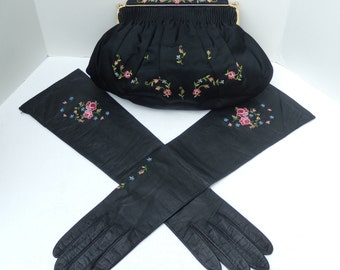 Aris Black Embroidered Kid Leather Gloves with Matching Black Satin Embroidered Purse