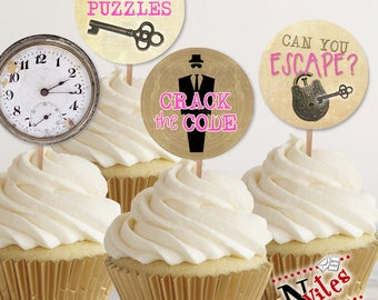 Escape Room Cupcake Toppers, Escape Room Tags, Escape Room Party, Escape Room Party Decor, Spy Party Cupcake, Pink Escape Room | PRINTABLE