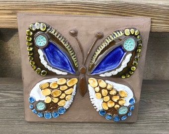 Jie ceramic plaque wall hanging relief/yellow white blue butterfly / Design Annika Kihlman / Sweden / Scandinavia / 70s