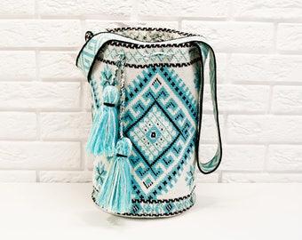 Modern White - blue Mochila Bag handmade Boho Bags Hippie Ukrainian traditional ornament Cross body Bucket Bag Shoulder