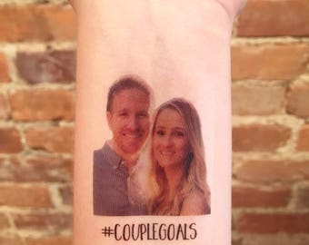 custom personalized bachelorette party PHOTO temporary tattoos // #COUPLEGOALS