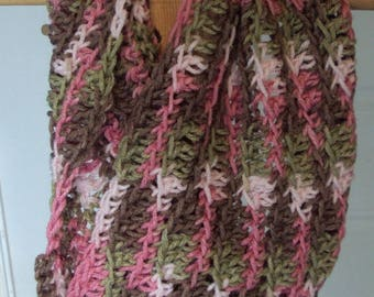 Crocheted Pink Camouflage Catesby Infinity Cowl Scarf
