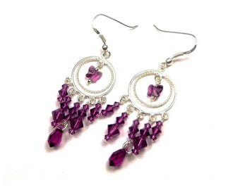 Silver earrings romantic Sterling and Swarovski Crystal Amethyst (purple)