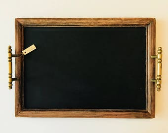 Tray - Vintage Wood with Brass Handles