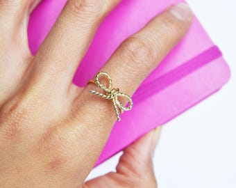 Bow Ring, 14KT Gold Fill, Bow Tie Ring, Knot Ring, Bridesmaid Gift