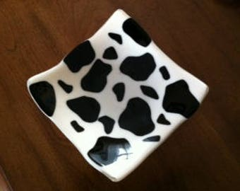 Fused Glass Cow Dish