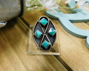 Vintage Sterling Silver Turquoise Ring- size 7.5
