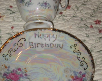 Happy Birthday Vintage Norleans Cup and Saucer...Beautiful Detail...Geat Gift...