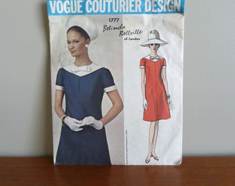 70s Pattern - Belinda Bellville London - A-Line Dress - Vogue Couturier Design 1777 - Vintage 1970s Sewing Pattern - Size 18 - 38-30-40