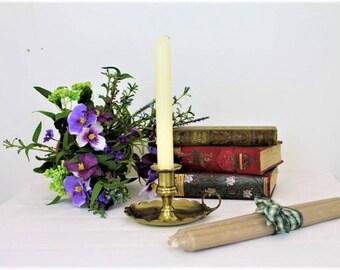 Vintage Brass Bedstick/Brass Candlestick/Brass Chamberstick/Brass Candleholder (Ref1978V)