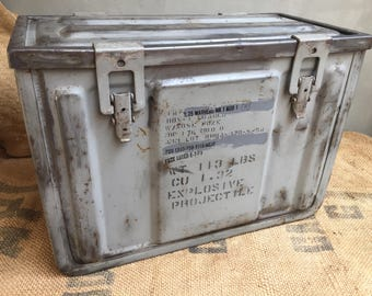Old military trunk, industrial metal box