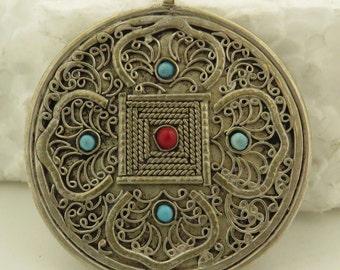 "Vintage Sterling Silver Natural Turquoise & Red Coral Filigree 1 5/8"" Medallion / Pendant."