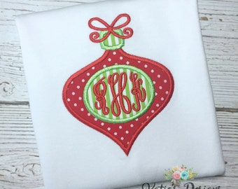 Monogrammed Christmas Ornament Applique - Monogrammed shirt, Personalized, Christmas ornament, Girls shirt, Girls applique, Christmas shirt