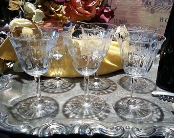 Set of 6 Vintage Needle Etched Cordial Glasses, Cordial Glasses Optic Bowls, Needle Etched, Smooth Base