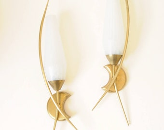 Wall sconces (Set of 2) - Edition ARLUS (1961, France)-Vintage 50s 60s