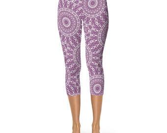 Capri Patterned Leggings for Women - Mandala Yoga Pants, Byzantium Yoga Leggings Pants