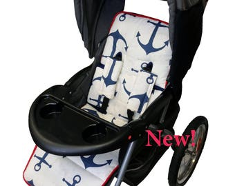Classic Nautical Stroller Liner-Reverses to Navy Minky