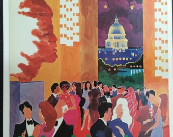 American Airlines Washington vintage poster