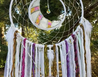 Stained Glass/Suncatcher/Beaded Dream Catcher/Wall Hanging/Room Decor/Bohemian Inspired
