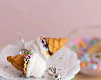 Earrings vanilla Funfetti Fimo ice cream cone, handmade polymer clay