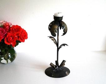 Vintage Unique Rustic metal candlestick handmade German 60s Candleholder Candlestick Holder in Black Golden Metal Candle Holder Mid Century