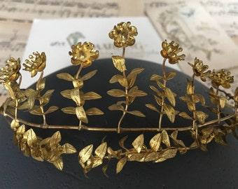 Golden bridal Crown, vintage tiara, antique Myrtle tiara, wedding hair accessories, boho hair, wedding Crown, flower Crown
