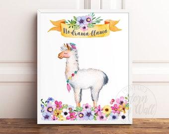 Llama Print, No Drama Llama, Llama Gifts, No Drama Llama Print, Llama Printable, Llama Wall Art, Llama Poster, Llama Alpaca, Llama Decor,