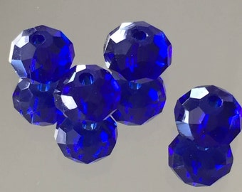 Blue Crystal Rondelle Beads Faceted Beads - Royal Blue Rondelles 5x3mm - Package of 20