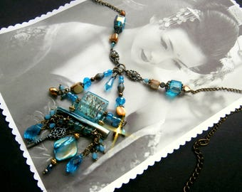 "Blue Art deco ""Ikumi"" necklace for wedding, birthday, gift"