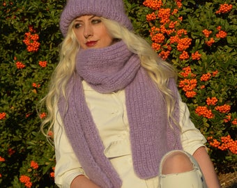 Chunky knit scarf hat set, Chunky knit hat, Super chunky infinite scarve Chunky scarf Infinity scarf Mohair scarf Knit scarf,Christmas Gift