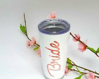 Bride cup, gold,  Stainless steel cup, Personalized Stainless steel tumbler, bridal cup, bridal dress, bachelorette party, beach, foil