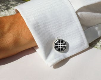 Geometric cuff links, Black and white cufflinks, Hipster jewelry, Personalized gift for men, Round cuff links, Father's day gift, 5114-2