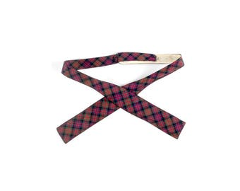 Vintage 50s Tie - 50s Bow Tie - 50s Plaid Bow Tie - Tartan Plaid Bow Tie - 50s Square End Bow Tie - Red Blue Green - Prest-O-Size Tie