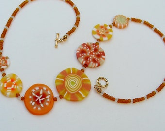 Butterscotch Candy Sunburst Necklace in polymer clay