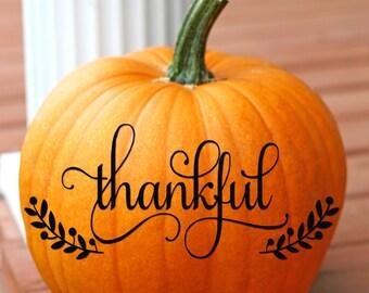 Thankful Vinyl Decal, Thanksgiving Decal, Thanksgiving Decor, Fall Decor, Fall Decals, Front Door Decal, Pumpkin Decals