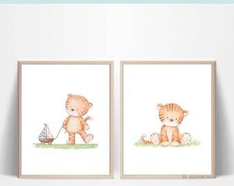 Wall art set of 2, baby nursery prints, kids room decor, 2 tiger wall art, safari nursery set