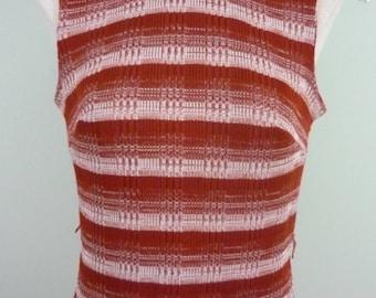 Vintage 1960s/1970s Space Dye Striped Mock Turtleneck Top