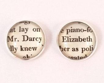 Pride & Prejudice  Earrings, Silver or Bronze Stud, Mr Darcy and Elizabeth Earrings