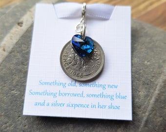 Brides Gift Lucky Sixpence Swarovski Bermuda Blue Heart Charm, Something Blue,Silver Sixpence, Bouquet Charm,Something Old, Brides Gift,