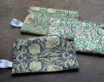William Morris floral print fabric purses. Phone case.  Clutch. Gift for her, birthday gift, teacher gift, anniversary gift, Christmas gift
